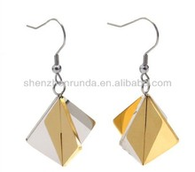 High quality silver gold plated stainless steel girl's lady's women's accesories geometric triangle pyramid shape drop earrings