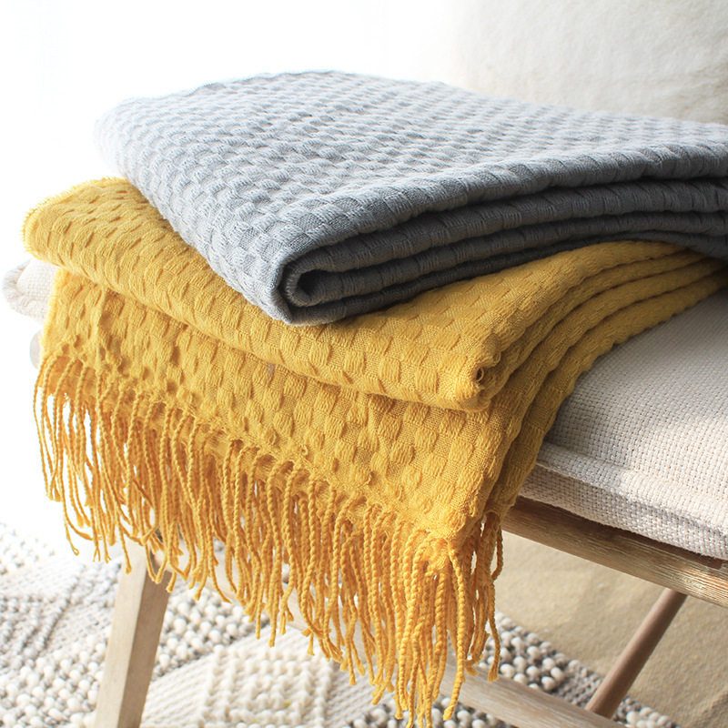new sofa decorative yellow knitted throw nap blanket with fringe