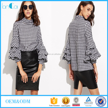 Black gingham cutout high neck ruffle sleeve tops 2016 new fashion blouses designs