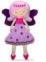 "15"" Tall Fabric Rag Doll in Pink Polka Dots Skirt/ Plush Fairy Doll"