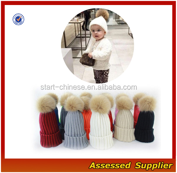 Custom fashion real raccoon fur pom pom hat beanie cap winter knitted hat for women and baby free samples