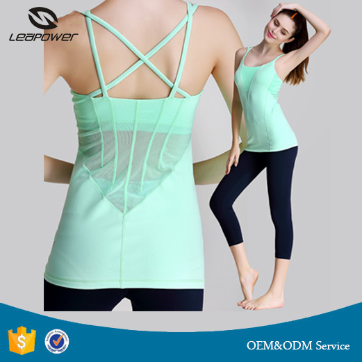2017 Hot Sale Fashionable Women Sexy Sport Top Custom Dri Fit Loose Mesh Top