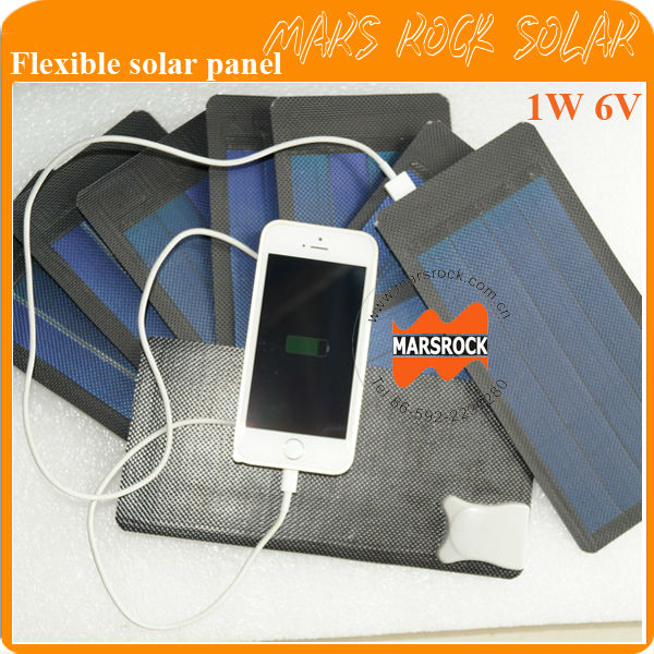 1W 6V small black Flexible Solar Panel with USB Interface Applied in Charging iPhone, Samsung Mobile