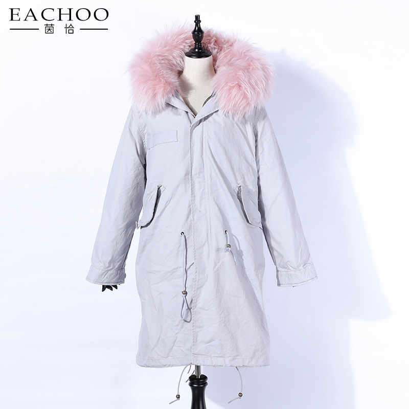 EACHOO Fashion Wholesale Ladies Large Genuine Raccoon Fur Collar Hood Parka Jacket