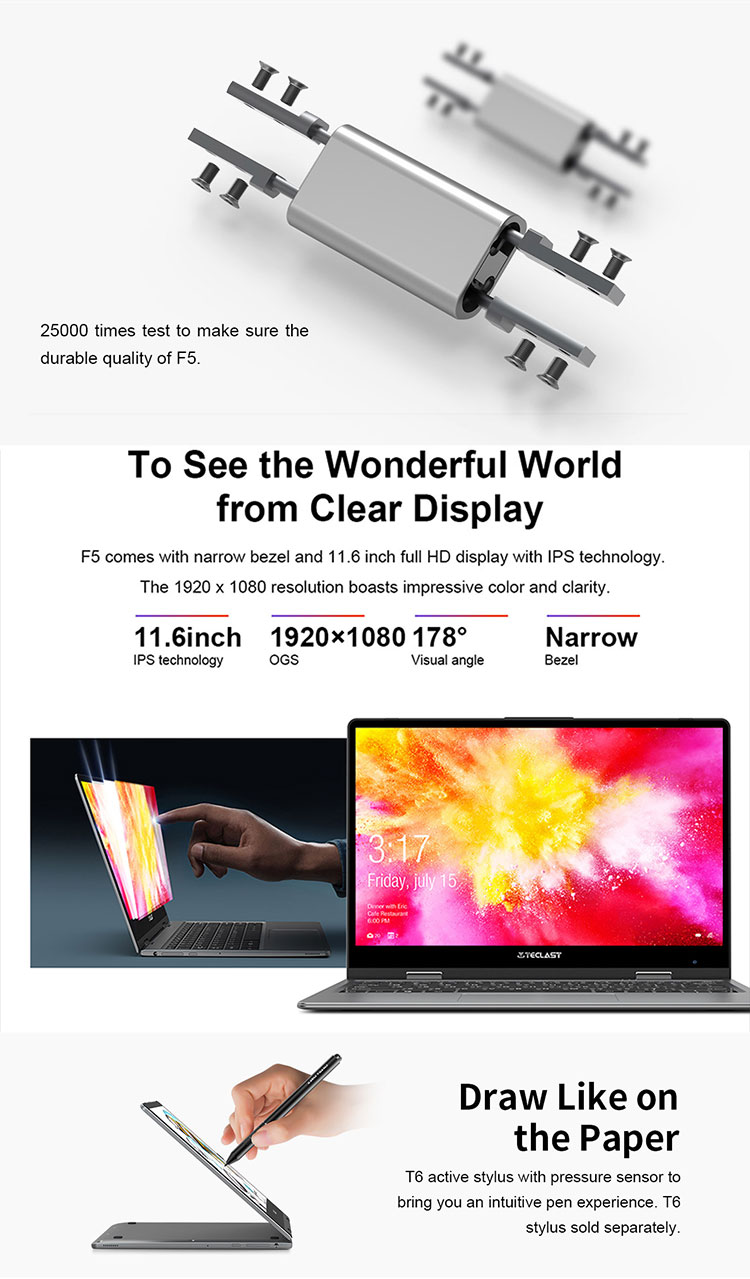 360 Degree Rotating 11.6 inch Full HD 1920*1080 IPS 8GB+128GB 29260mWh Battery Touch screen Laptop