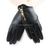 fall classical women black short motorcycle gloves with golden zipper