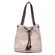 RY1141 Women Flowers Casual Spanish Canvas Bucket Beach Bags