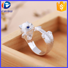 Promotonal women best giveaways silver cat ring fashion finger ring for wholesale
