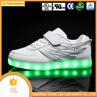 Cotton Fabric hight quality Material USB rechargeable simulation led light up kids shoes on sell