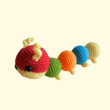 Hand knitted caterpillar crochet animal baby toy