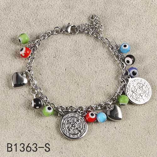 Alibaba China Wholesale Multi Color Beads Silver Pendants Fantasy Stainless Steel Bracelet For Christamas Gift