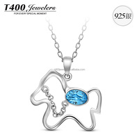 T400 made with swarovski elements Crystal,925 Sterling Sivler Necklace & Pendants,for women,Lucky horse,#10643