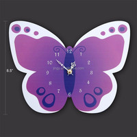 custom novel designed butterfly plexiglass acrylic wall mount clock with 2 sides for sale