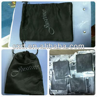 black 200g satin pouch with drawstring
