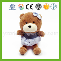 Hot sale lovable bear plush toy with blue dress for kids