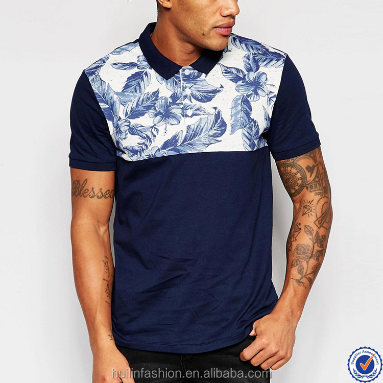 short sleeve latest shirts for men pictures polo collar 100% cotton polo shirt with printed yoke