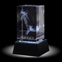 3D crystal block with light base wholesale engravable gifts