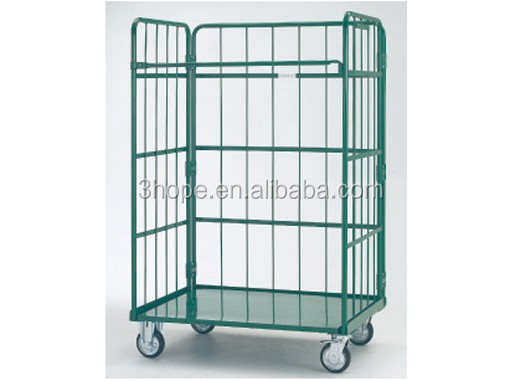 Hotel Trolley Roll Box Pallet Roll Container,nestable and folding roll pallet