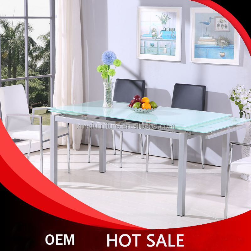 modern design toughened glass extension dining table set home living room furniture chiars with metal table legs