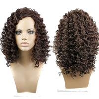 Medium Brown Afro Curly Wave Shoulder Length Synthetic Wigs Heat Resistant Fiber Afro Wigs for Black Woman Top Quality Wholesale