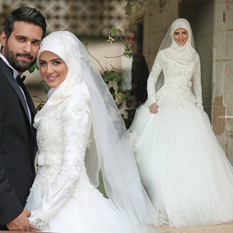 C71521a new design muslim wedding dress white wedding for Muslim wedding dress photo