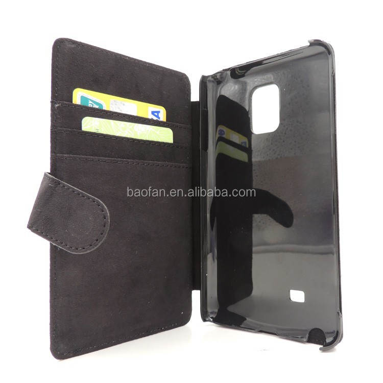 Newest blank sublimation card holder leather flip cover for Samsung note4 edge