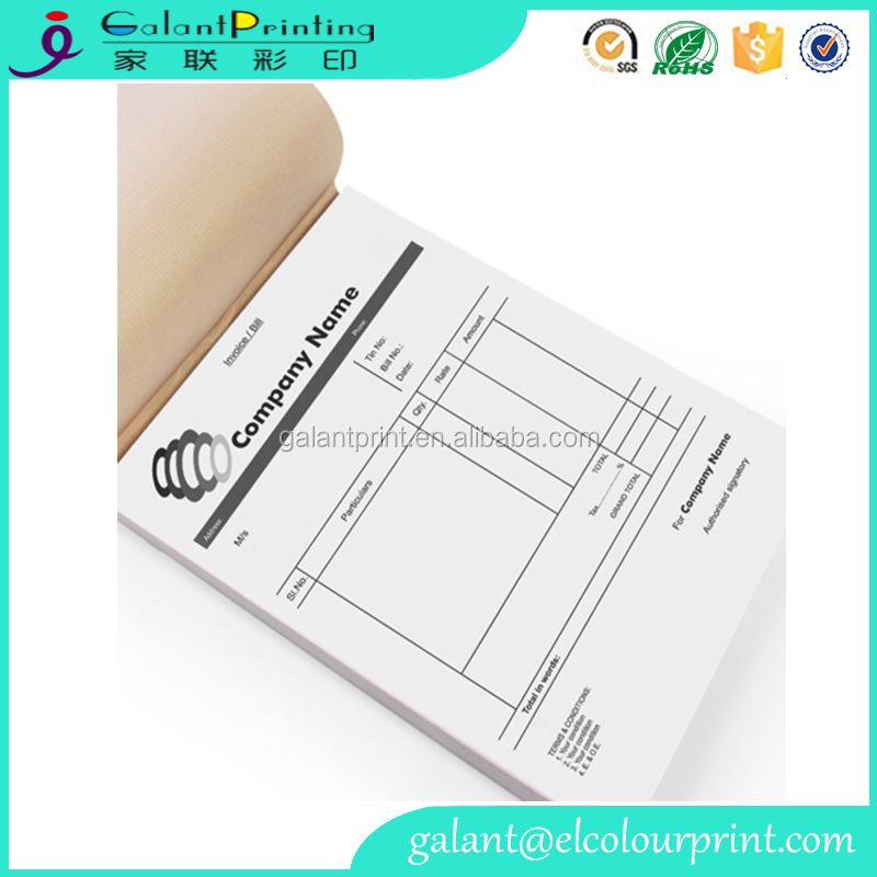 Custom printing receipt bill book three six copy for cash memo