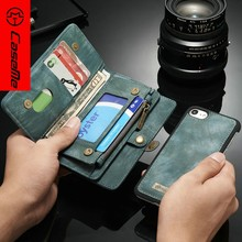 Detachable Flip Wallet Leather Case For Iphone 7,Smart Stand Card Holder Case Cover For Iphone 7