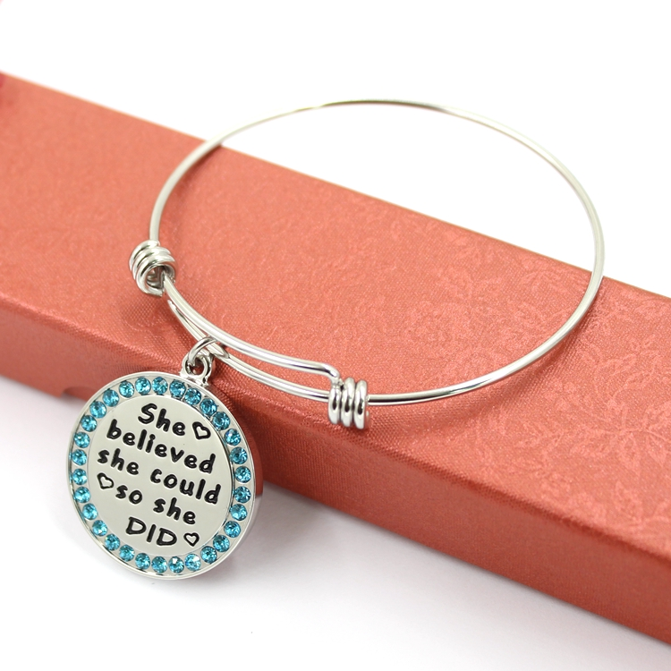 Newest custom engraving tag charms bangle accessories for women bracelet