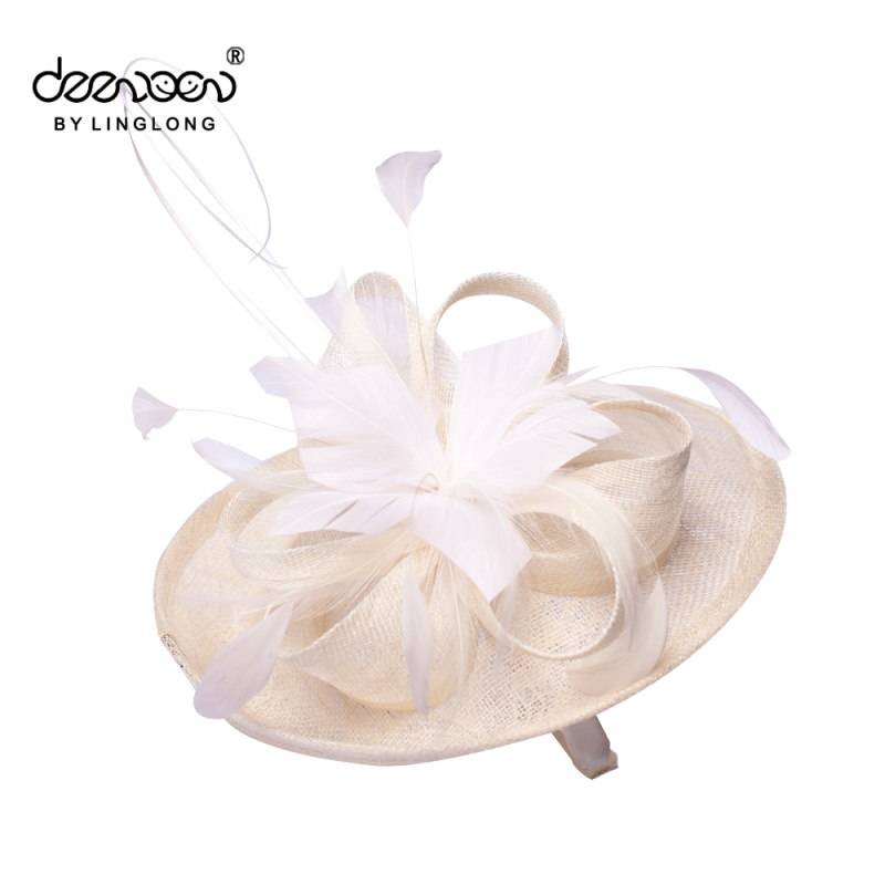 Womens Wholesale Sinamay Fascinator Hats Bases With Feather