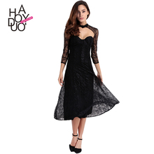 HAODUOYI Women Sexy Lace Strapless Dresses Female Double Layer Hollow Out Dresses Ladies A-line Long Dresses for Wholesale