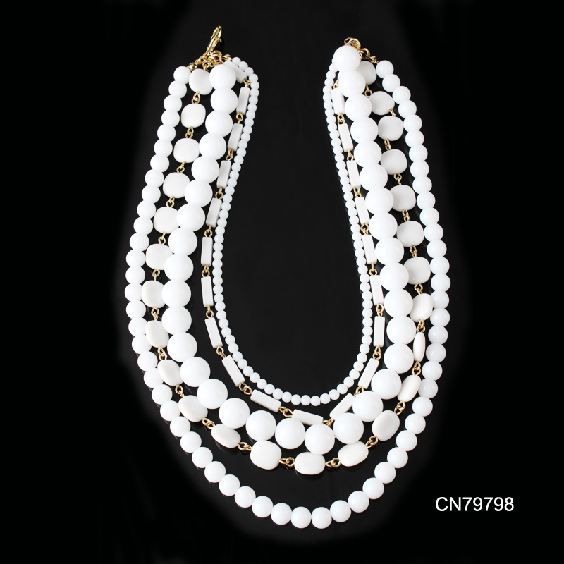 CN79797 Newest style handwork black 5 layer acrylic bead jewelry women handcrafted necklaces