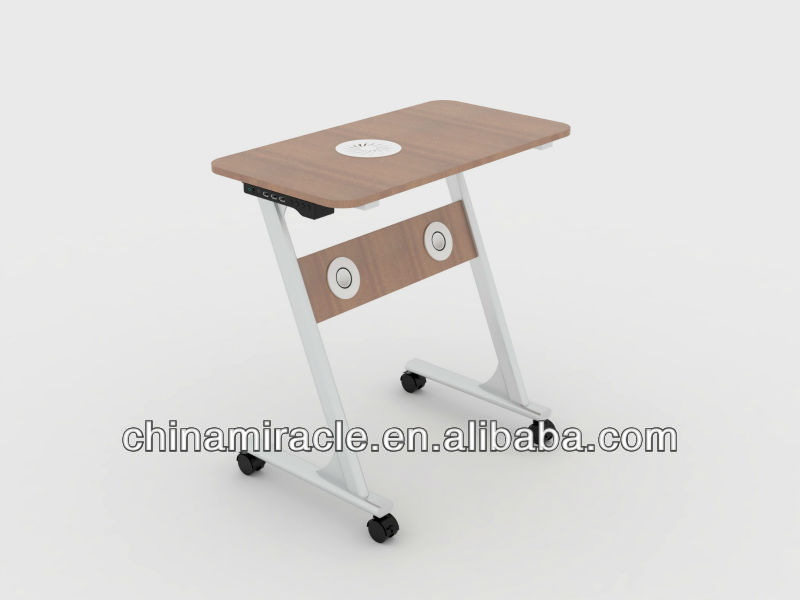 wholesale laptop table with led lamp glass table wood book rack recycled furniture