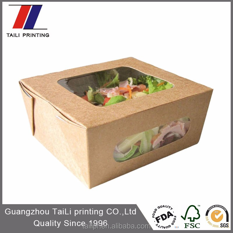 Custom brown paper box with window/paper salad box