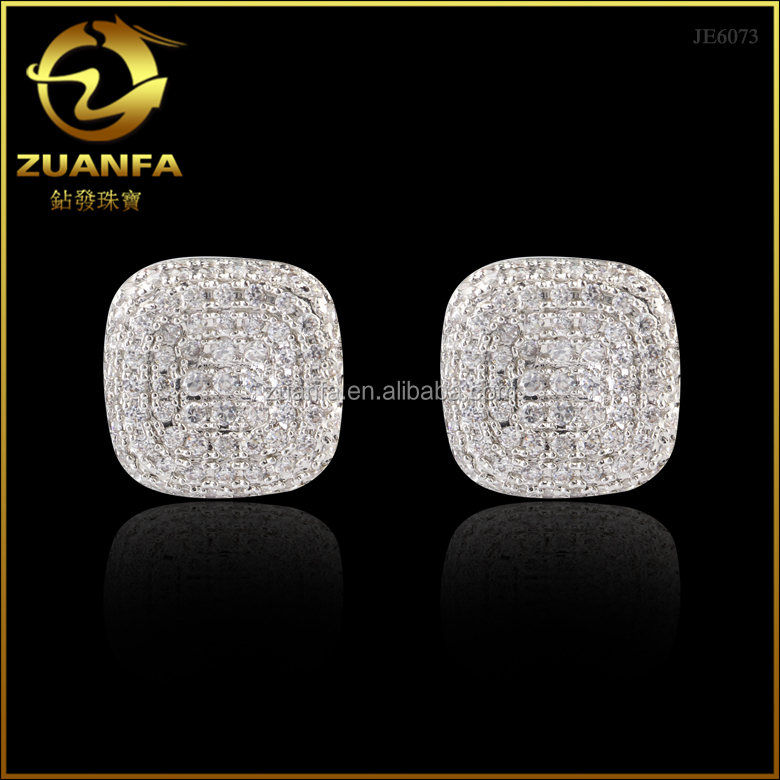 wholesale 925 sterling silver sparkling aaa cubic zirconia cushion shaped cz iced out earrings stud