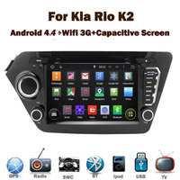 Pure Android 4.4 4 Car DVD Player for Kia Rio K2 with Wifi 3G GPS Bluetooth Radio RDS USB IPOD Steering wheel Control