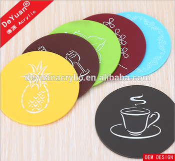 Clear glass custom drink coasters with digital printing logo wholesale