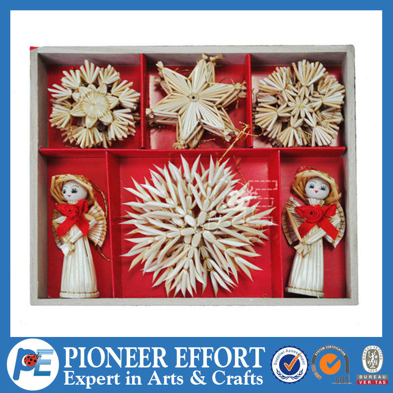 Christmas decoration straw ornament hanging stars and angel