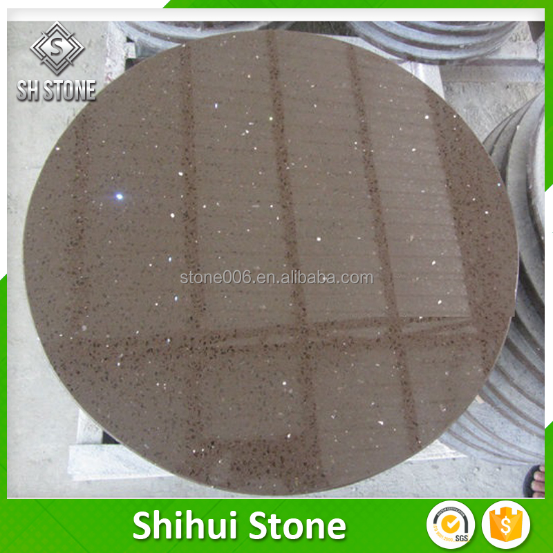 prefabricated restaurant round quartz table tops for outdoor and indoor