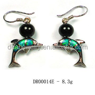 High Quality ! News Animals Opal Earrings In Sterling Silver, Dangle Opal Earrings For Women , Dolphine Jewelry By Paypal DR0001