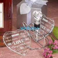 Heart shape unique wedding favours glass coaster wholesale
