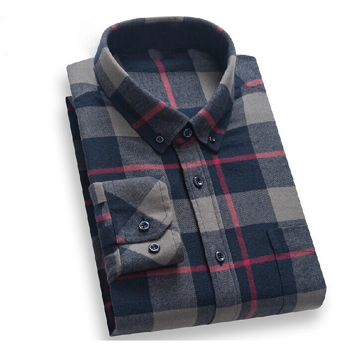 Men Shirts 100% Cotton Dress Shirt Men Flannel Shirts
