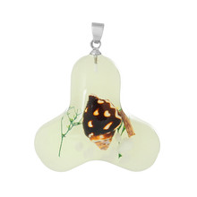 Resin Charm Pendants Triangle Light green Made With Real Spiral Sea Shell Pattern Glow In The Dark 3.6cm x 3.2cm