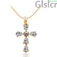 Fast and The Furious Silver Zircon Cross Pendant Necklace,925 Sterling Silver with 3 Layer Platinum Plated,Allergy Free Q032
