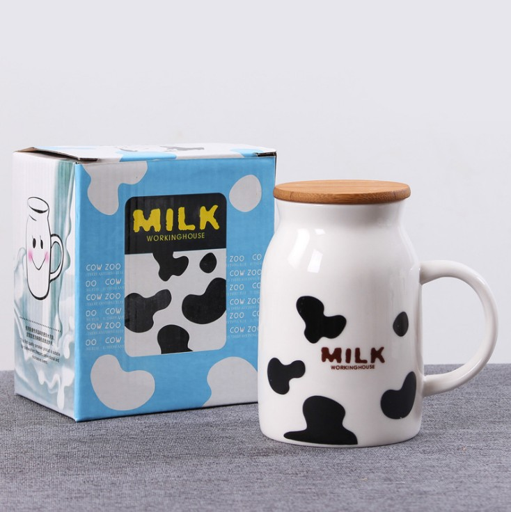 Wholesale Ceramic Coffee Mug <strong>Cup</strong> Milk Mug <strong>Cup</strong> with Cover And Spoon Customized Printing