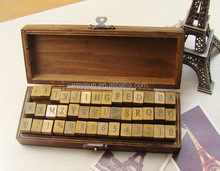 wooden box stamps 42pcs/set Alphabet stamp set letters and numbers stamp/wooden stamp DHL Freeshipping