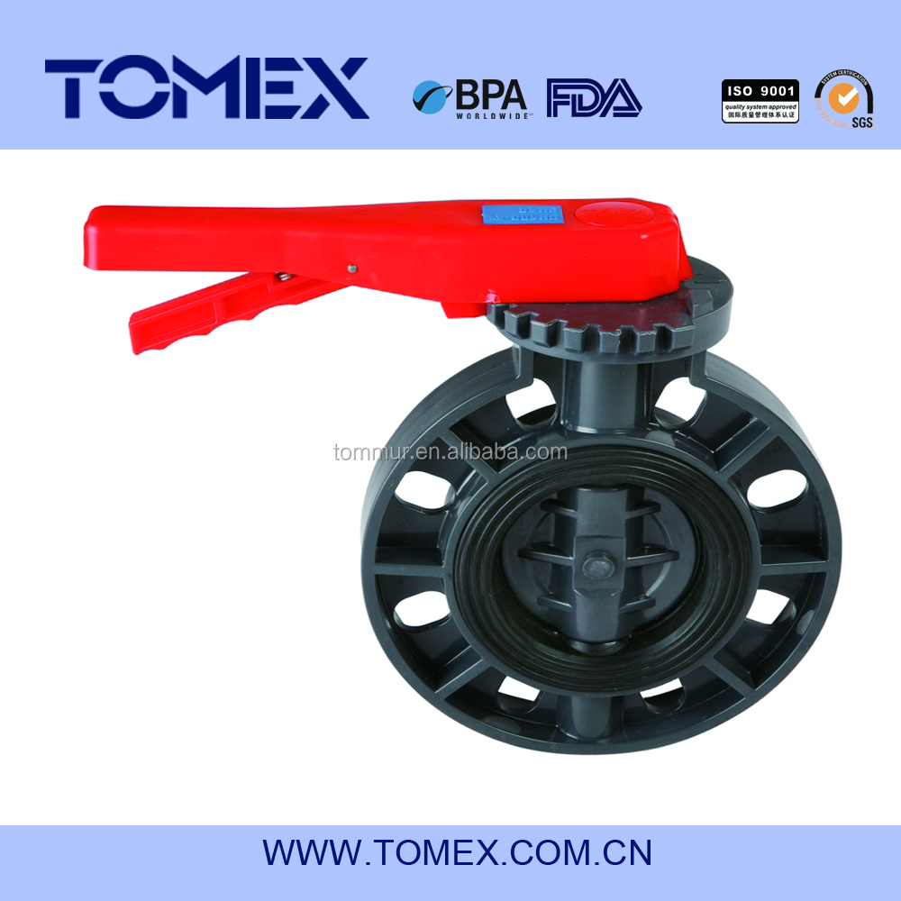 Low price 6 inch 8 inch pvc plastic wafer butterfly valve