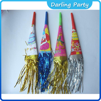 Holiday/party supplies foil paper horns whistle with tassel horns