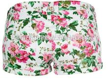 2012 Newest Floral Printed Denim Hot Pants/ trousers For women