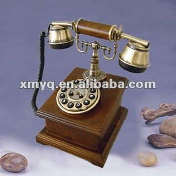 Antique wood phone for home decoration